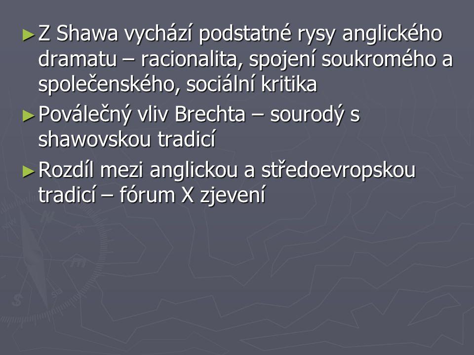 ► Z Shawa vychází podstatné rysy anglického dramatu – racionalita, spojení soukromého a společenského, sociální kritika ► Poválečný vliv Brechta – sou