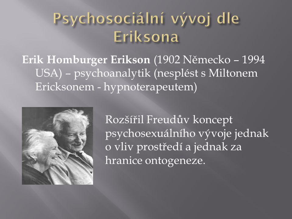 Erik Homburger Erikson (1902 Německo – 1994 USA) – psychoanalytik (nesplést s Miltonem Ericksonem - hypnoterapeutem) Rozšířil Freudův koncept psychosexuálního vývoje jednak o vliv prostředí a jednak za hranice ontogeneze.