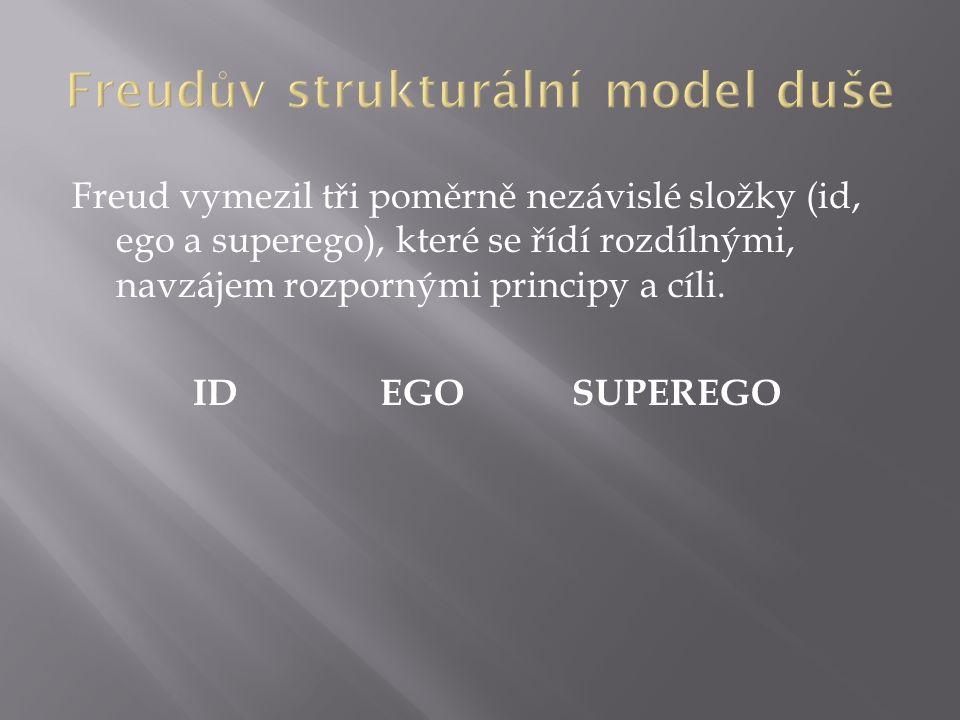 Freud vymezil tři poměrně nezávislé složky (id, ego a superego), které se řídí rozdílnými, navzájem rozpornými principy a cíli.