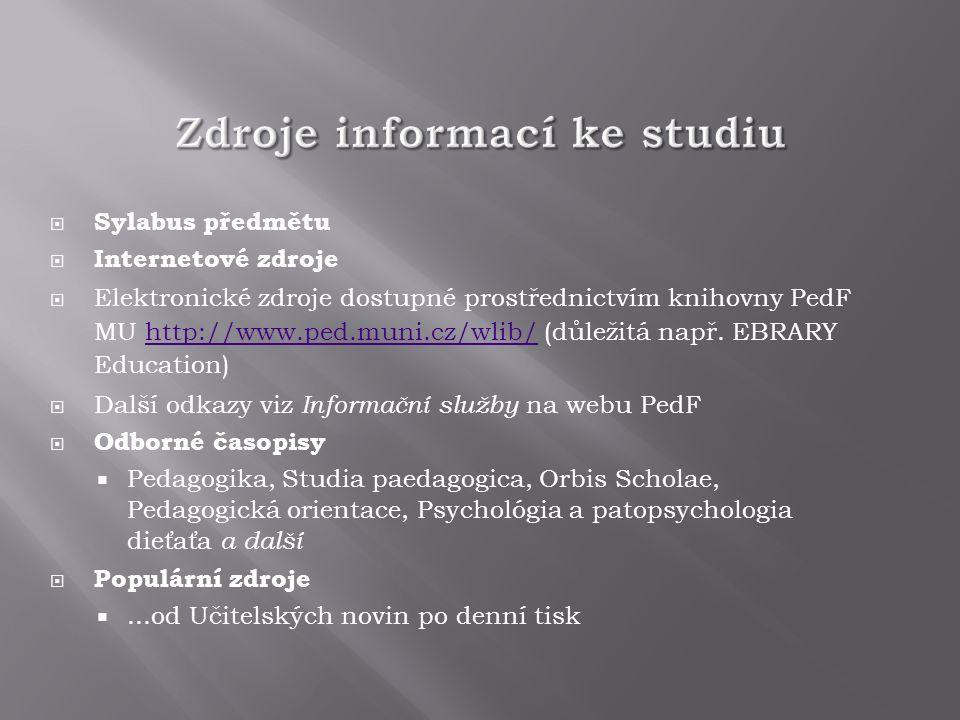  Sylabus předmětu  Internetové zdroje  Elektronické zdroje dostupné prostřednictvím knihovny PedF MU http://www.ped.muni.cz/wlib/ (důležitá např.