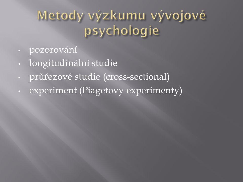 pozorování longitudinální studie průřezové studie (cross-sectional) experiment (Piagetovy experimenty)