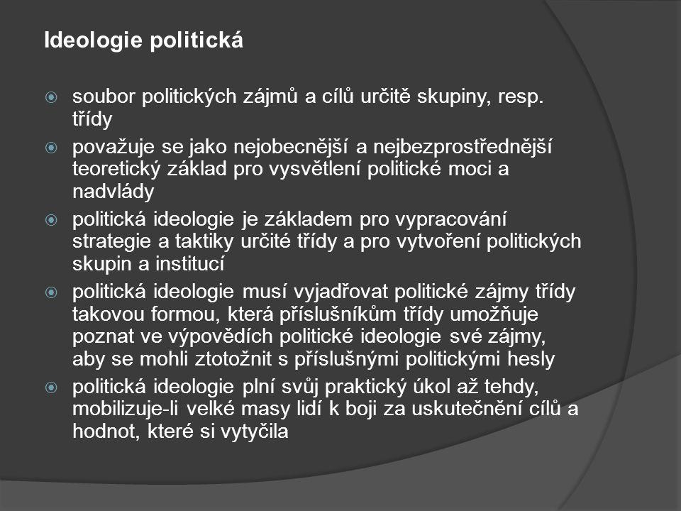 Ideologie politická  soubor politických zájmů a cílů určitě skupiny, resp. třídy  považuje se jako nejobecnější a nejbezprostřednější teoretický zák