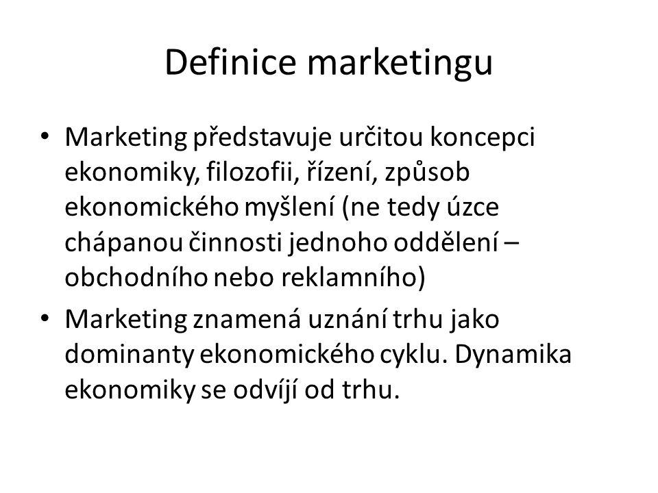 Definice marketingu Marketing představuje určitou koncepci ekonomiky, filozofii, řízení, způsob ekonomického myšlení (ne tedy úzce chápanou činnosti j