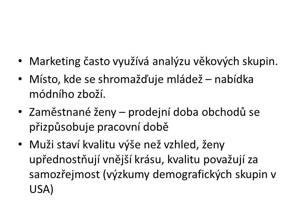 Marketing často využívá analýzu věkových skupin.