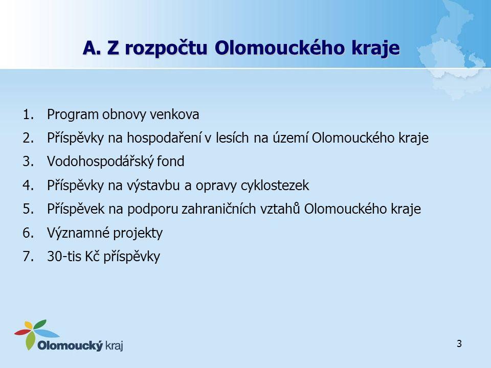 3 A. Z rozpočtu Olomouckého kraje 1.Program obnovy venkova 2.Příspěvky na hospodaření v lesích na území Olomouckého kraje 3.Vodohospodářský fond 4.Pří