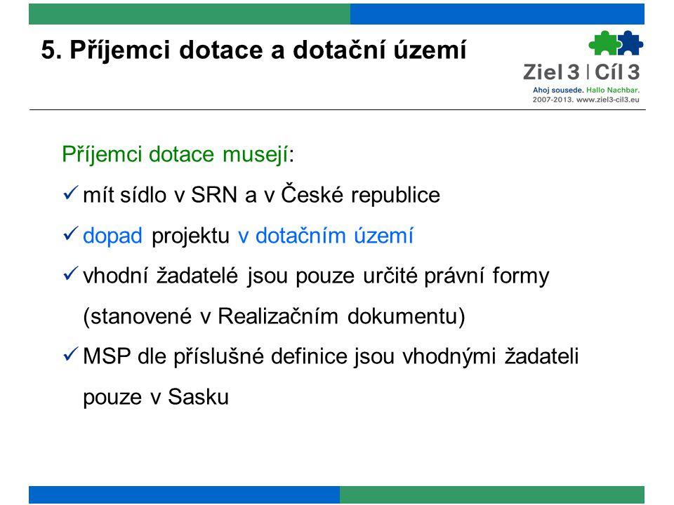 Příjemci dotace musejí: mít sídlo v SRN a v České republice dopad projektu v dotačním území vhodní žadatelé jsou pouze určité právní formy (stanovené v Realizačním dokumentu) MSP dle příslušné definice jsou vhodnými žadateli pouze v Sasku