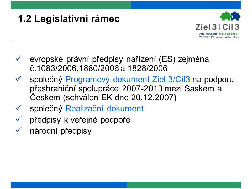 1.2 Legislativní rámec evropské právní předpisy nařízení (ES) zejména č.1083/2006,1880/2006 a 1828/2006 společný Programový dokument Ziel 3/Cíl3 na podporu přeshraniční spolupráce 2007-2013 mezi Saskem a Českem (schválen EK dne 20.12.2007) společný Realizační dokument předpisy k veřejné podpoře národní předpisy