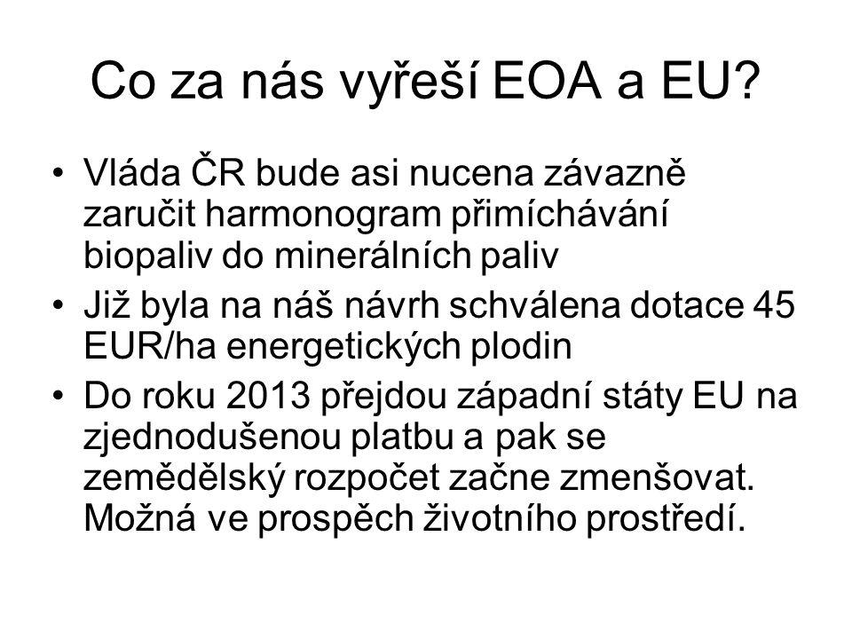 Co za nás vyřeší EOA a EU? Vláda ČR bude asi nucena závazně zaručit harmonogram přimíchávání biopaliv do minerálních paliv Již byla na náš návrh schvá