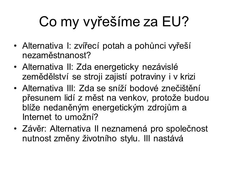 Co my vyřešíme za EU? Alternativa I: zvířecí potah a pohůnci vyřeší nezaměstnanost? Alternativa II: Zda energeticky nezávislé zemědělství se stroji za