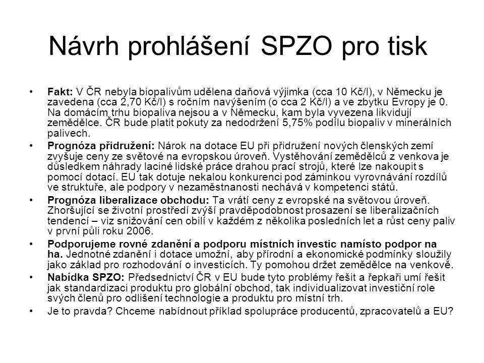 Návrh prohlášení SPZO pro tisk Fakt: V ČR nebyla biopalivům udělena daňová výjimka (cca 10 Kč/l), v Německu je zavedena (cca 2,70 Kč/l) s ročním navýšením (o cca 2 Kč/l) a ve zbytku Evropy je 0.