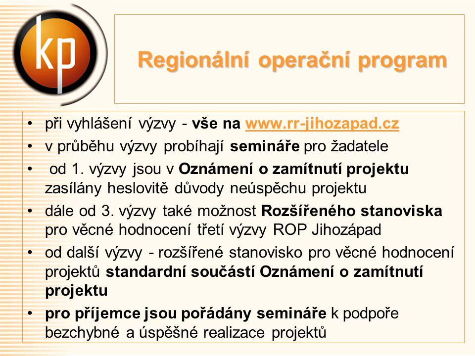 Regionální operační program Regionální operační program při vyhlášení výzvy - vše na www.rr-jihozapad.czwww.rr-jihozapad.cz v průběhu výzvy probíhají semináře pro žadatele od 1.