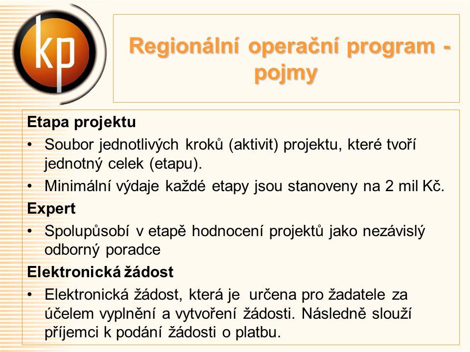 Regionální operační program - pojmy Regionální operační program - pojmy Etapa projektu Soubor jednotlivých kroků (aktivit) projektu, které tvoří jednotný celek (etapu).