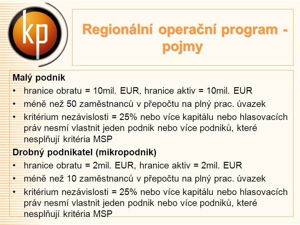 Regionální operační program - pojmy Regionální operační program - pojmy Malý podnik hranice obratu = 10mil.