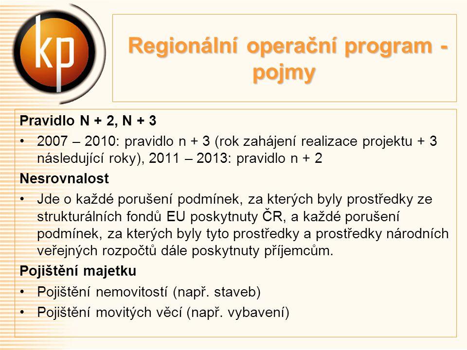 Regionální operační program - pojmy Regionální operační program - pojmy Pravidlo N + 2, N + 3 2007 – 2010: pravidlo n + 3 (rok zahájení realizace projektu + 3 následující roky), 2011 – 2013: pravidlo n + 2 Nesrovnalost Jde o každé porušení podmínek, za kterých byly prostředky ze strukturálních fondů EU poskytnuty ČR, a každé porušení podmínek, za kterých byly tyto prostředky a prostředky národních veřejných rozpočtů dále poskytnuty příjemcům.