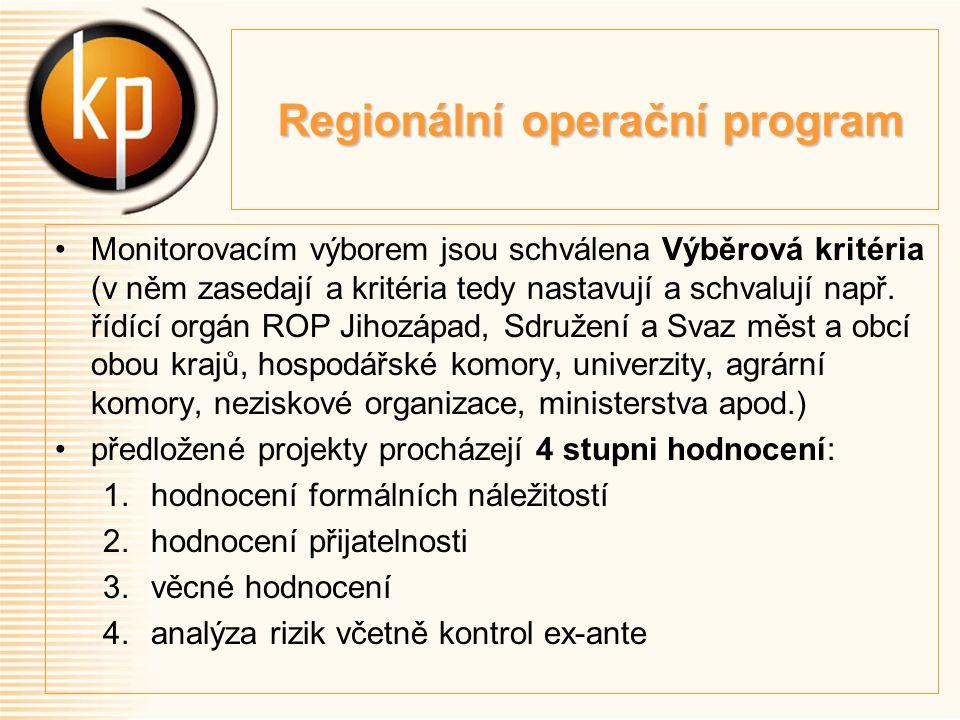 Regionální operační program Regionální operační program Monitorovacím výborem jsou schválena Výběrová kritéria (v něm zasedají a kritéria tedy nastavují a schvalují např.