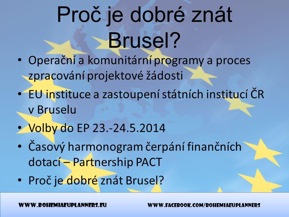Proč je dobré znát Brusel? Operační a komunitární programy a proces zpracování projektové žádosti EU instituce a zastoupení státních institucí ČR v Br