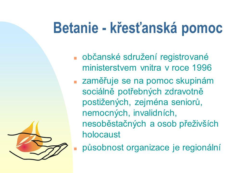 Betanie - křesťanská pomoc n občanské sdružení registrované ministerstvem vnitra v roce 1996 n zaměřuje se na pomoc skupinám sociálně potřebných zdravotně postižených, zejména seniorů, nemocných, invalidních, nesoběstačných a osob přeživších holocaust n působnost organizace je regionální