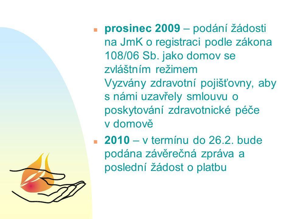 n prosinec 2009 – podání žádosti na JmK o registraci podle zákona 108/06 Sb.