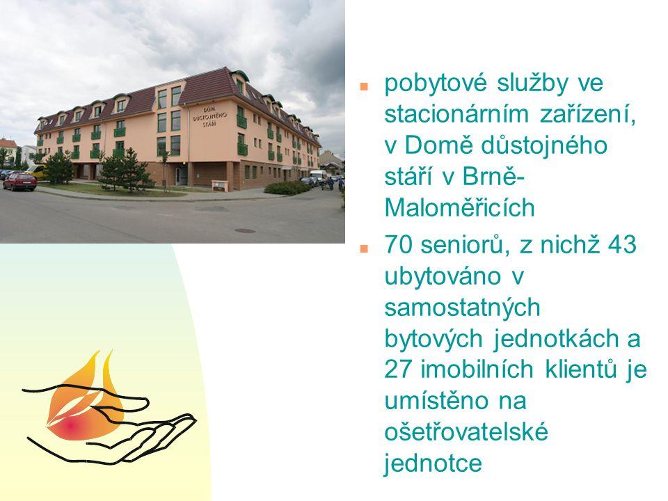 n pobytové služby ve stacionárním zařízení, v Domě důstojného stáří v Brně- Maloměřicích n 70 seniorů, z nichž 43 ubytováno v samostatných bytových jednotkách a 27 imobilních klientů je umístěno na ošetřovatelské jednotce