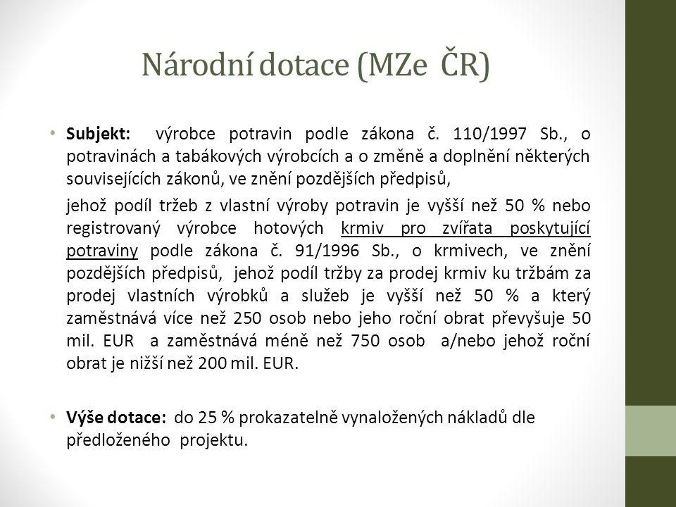 Národní dotace (MZe ČR) Subjekt: výrobce potravin podle zákona č.
