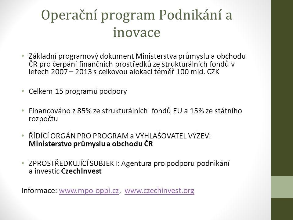 Operační program Podnikání a inovace Základní programový dokument Ministerstva průmyslu a obchodu ČR pro čerpání finančních prostředků ze strukturálních fondů v letech 2007 – 2013 s celkovou alokací téměř 100 mld.