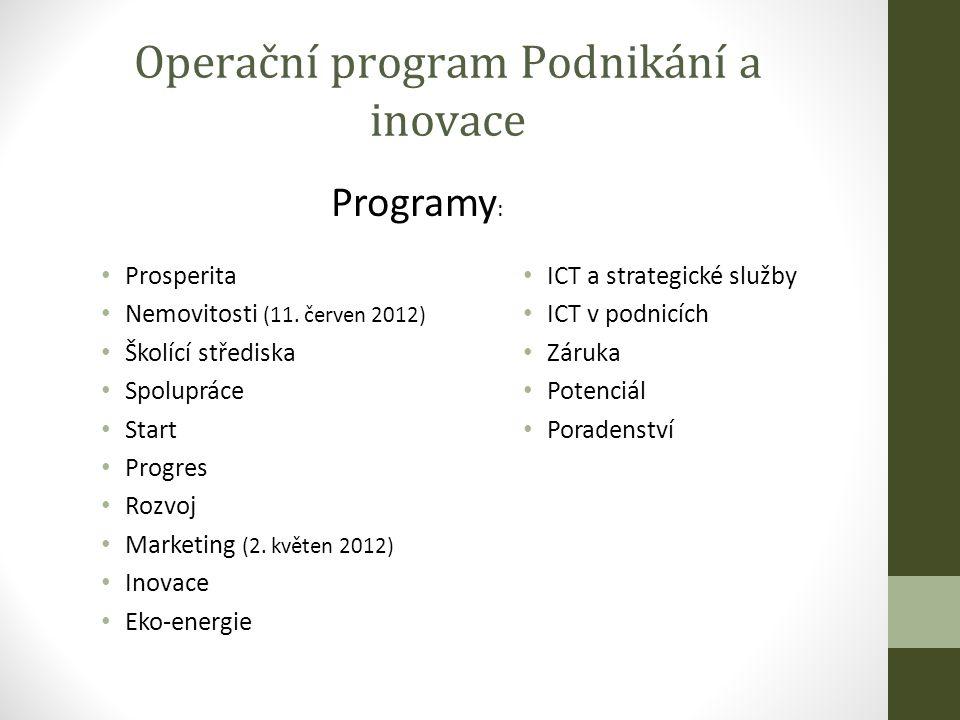 Operační program Podnikání a inovace Prosperita Nemovitosti (11.