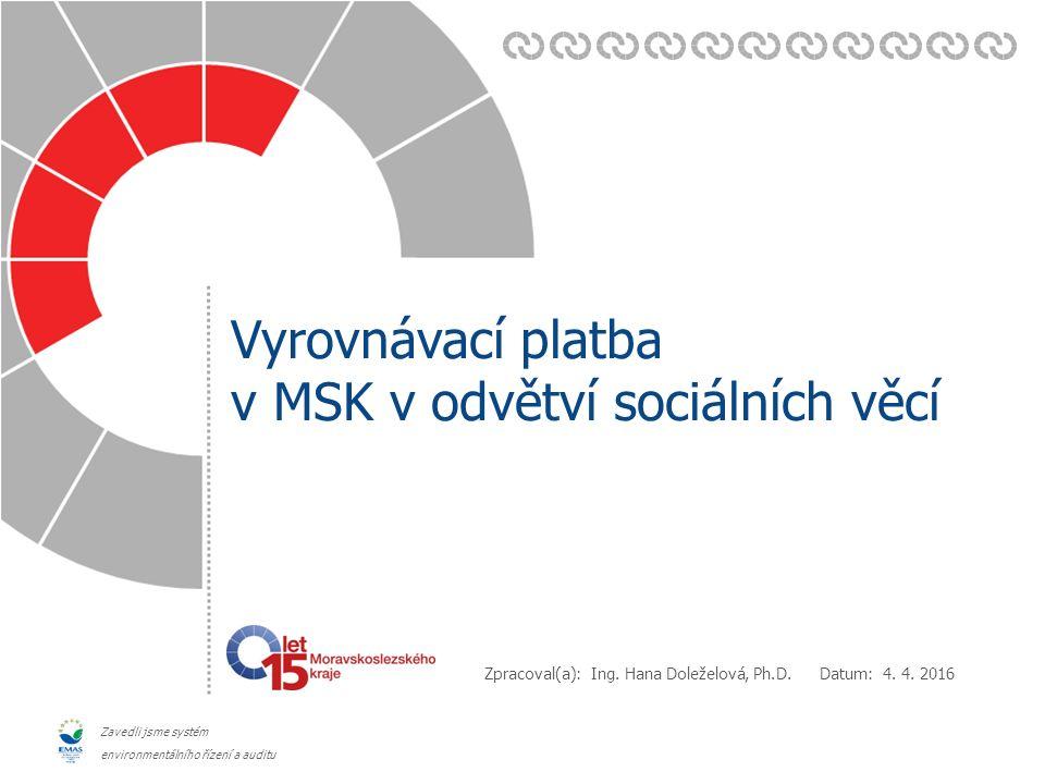 Zavedli jsme systém environmentálního řízení a auditu Vyrovnávací platba v MSK  Modelujeme náklady sociální služby (tj.