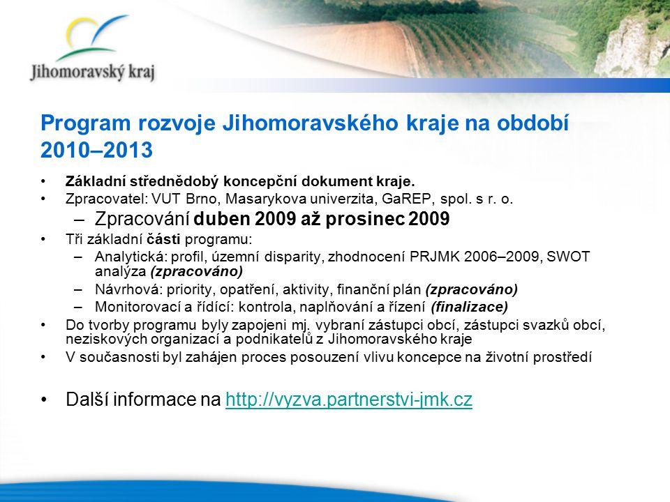 Program rozvoje Jihomoravského kraje na období 2010–2013 Základní střednědobý koncepční dokument kraje. Zpracovatel: VUT Brno, Masarykova univerzita,