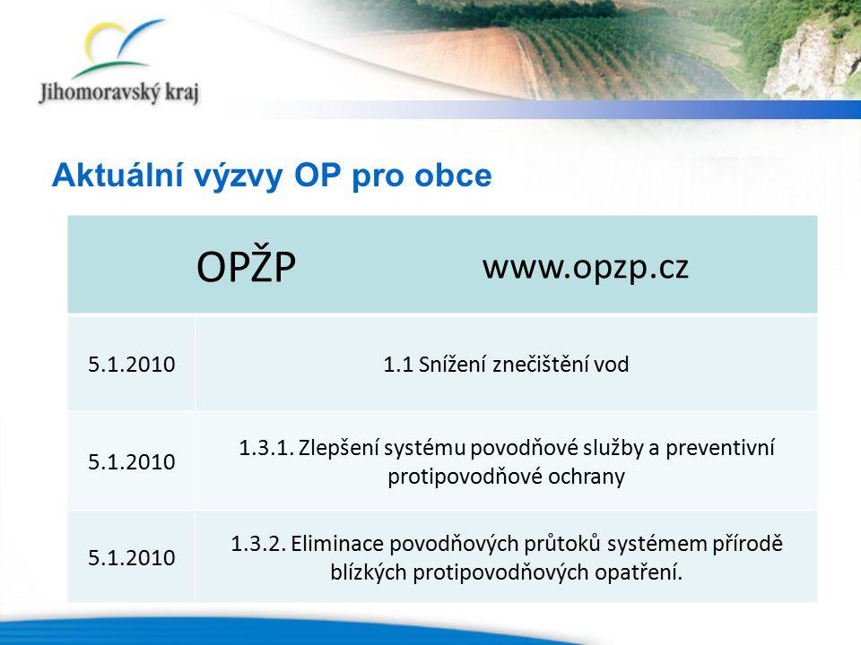 OPŽP www.opzp.cz 5.1.20101.1 Snížení znečištění vod 5.1.2010 1.3.1. Zlepšení systému povodňové služby a preventivní protipovodňové ochrany 5.1.2010 1.