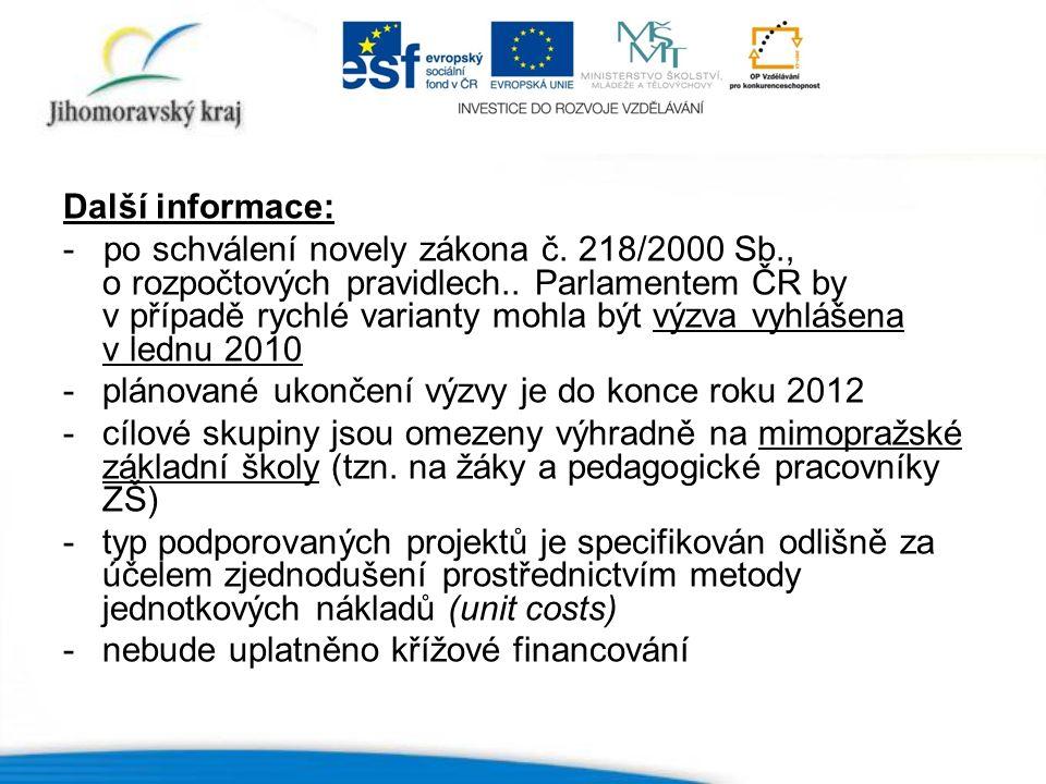 Další informace: - po schválení novely zákona č.218/2000 Sb., o rozpočtových pravidlech..
