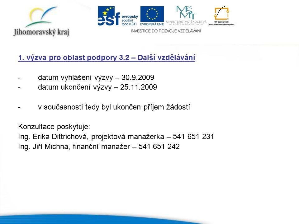 1. výzva pro oblast podpory 3.2 – Další vzdělávání -datum vyhlášení výzvy – 30.9.2009 -datum ukončení výzvy – 25.11.2009 -v současnosti tedy byl ukonč
