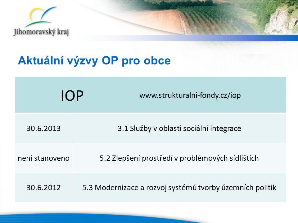 IOP www.strukturalni-fondy.cz/iop 30.6.20133.1 Služby v oblasti sociální integrace není stanoveno5.2 Zlepšení prostředí v problémových sídlištích 30.6