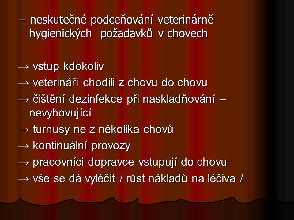 − neskutečné podceňování veterinárně hygienických požadavků v chovech → vstup kdokoliv → veterináři chodili z chovu do chovu → čištění dezinfekce při