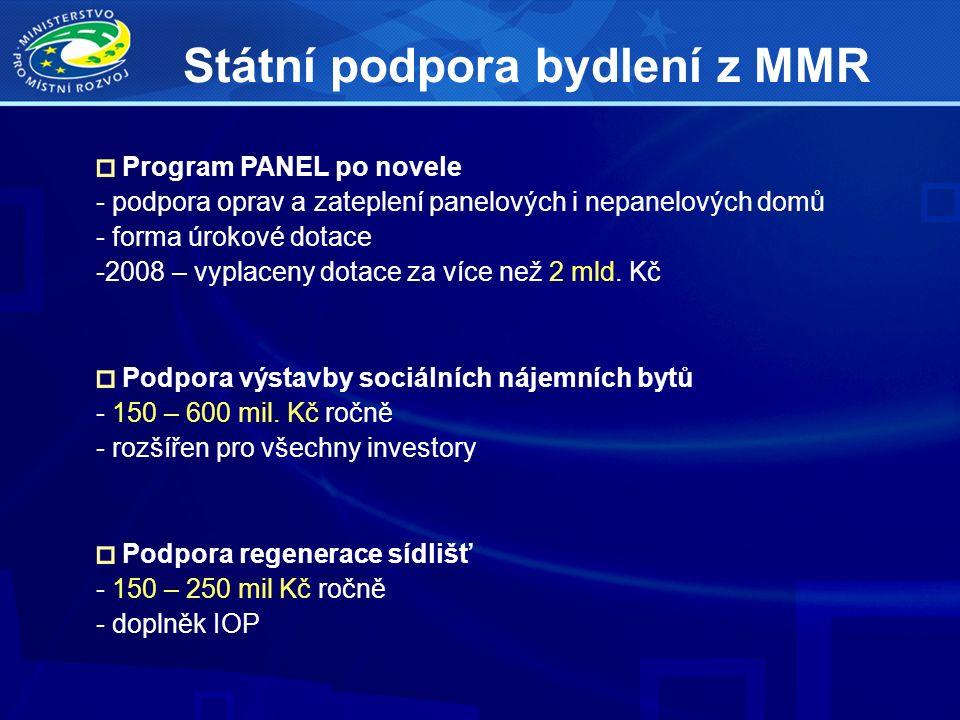 Program PANEL po novele - podpora oprav a zateplení panelových i nepanelových domů - forma úrokové dotace -2008 – vyplaceny dotace za více než 2 mld.