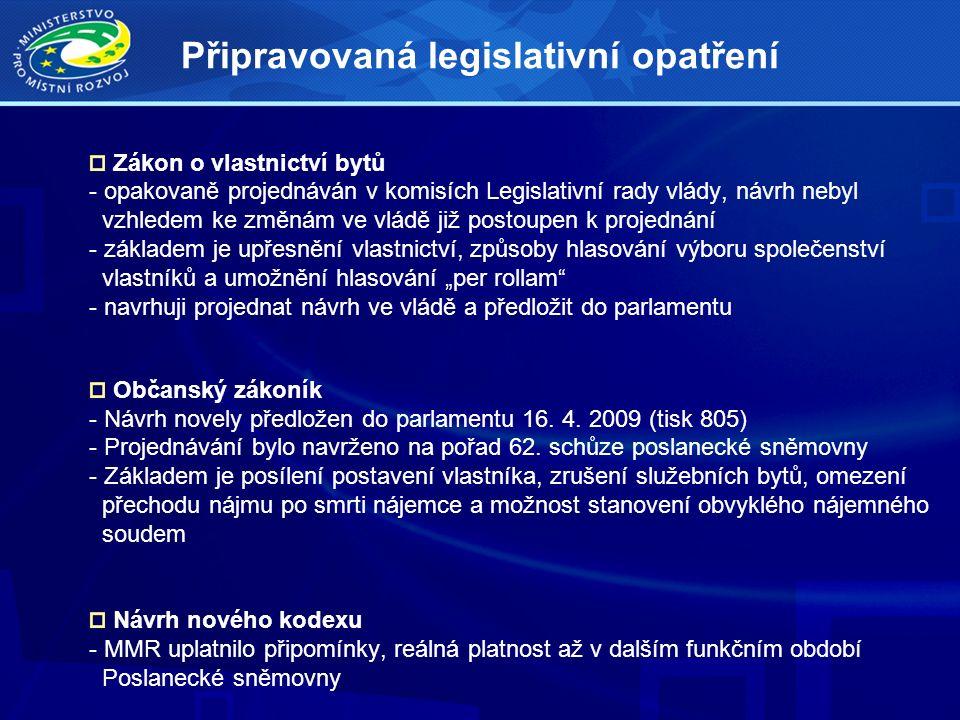 """Zákon o vlastnictví bytů - opakovaně projednáván v komisích Legislativní rady vlády, návrh nebyl vzhledem ke změnám ve vládě již postoupen k projednání - základem je upřesnění vlastnictví, způsoby hlasování výboru společenství vlastníků a umožnění hlasování """"per rollam - navrhuji projednat návrh ve vládě a předložit do parlamentu Občanský zákoník - Návrh novely předložen do parlamentu 16."""