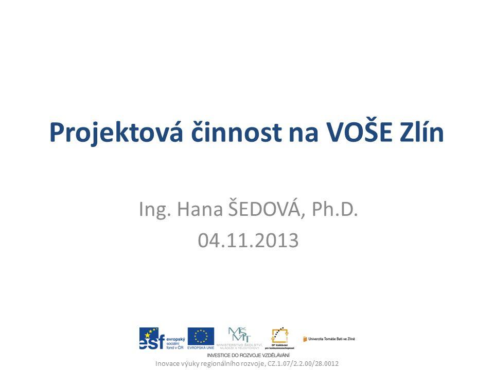 Projektová činnost na VOŠE Zlín Ing. Hana ŠEDOVÁ, Ph.D.