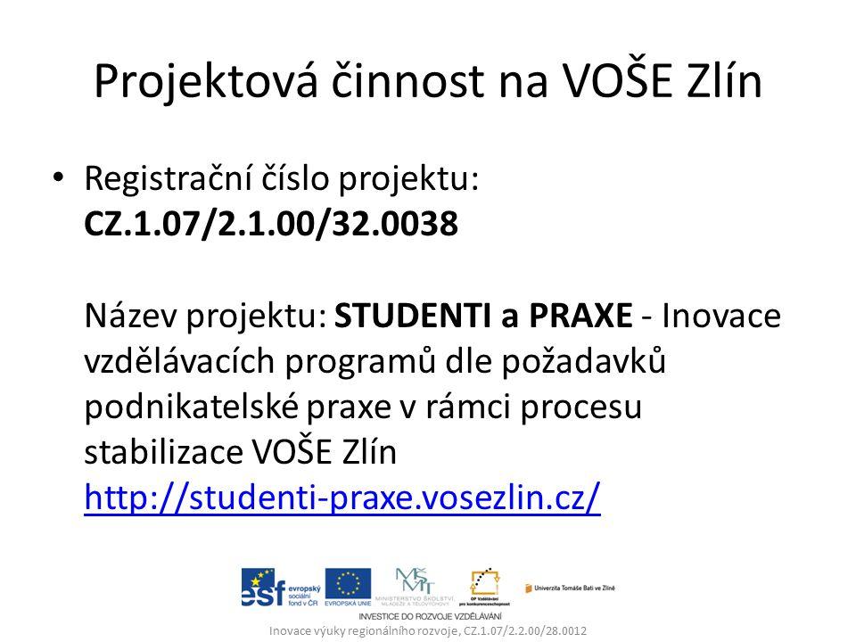 Projektová činnost na VOŠE Zlín Registrační číslo projektu: CZ.1.07/2.1.00/32.0038 Název projektu: STUDENTI a PRAXE - Inovace vzdělávacích programů dle požadavků podnikatelské praxe v rámci procesu stabilizace VOŠE Zlín http://studenti-praxe.vosezlin.cz/ http://studenti-praxe.vosezlin.cz/ Inovace výuky regionálního rozvoje, CZ.1.07/2.2.00/28.0012