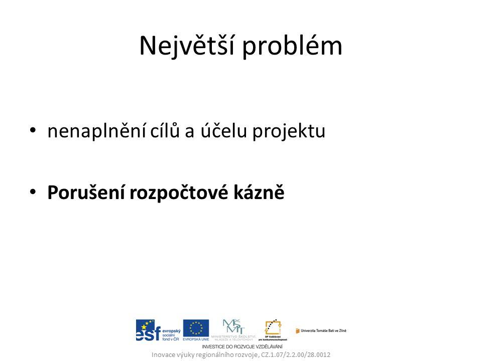 Největší problém nenaplnění cílů a účelu projektu Porušení rozpočtové kázně Inovace výuky regionálního rozvoje, CZ.1.07/2.2.00/28.0012