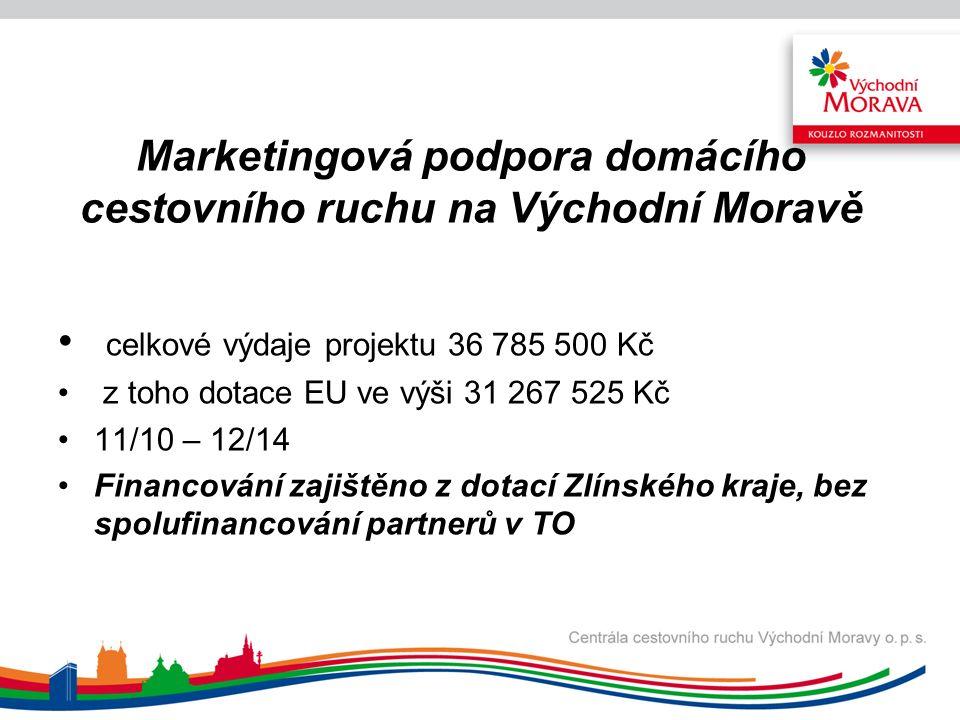 Marketingová podpora příjezdového cestovního ruchu na Východní Moravě celkové výdaje projektu 12 135 500 Kč z toho dotace EU ve výši 10 230 025 Kč 11/10 – 12/14 Financování zajištěno z dotací Zlínského kraje, bez spolufinancování partnerů v TO