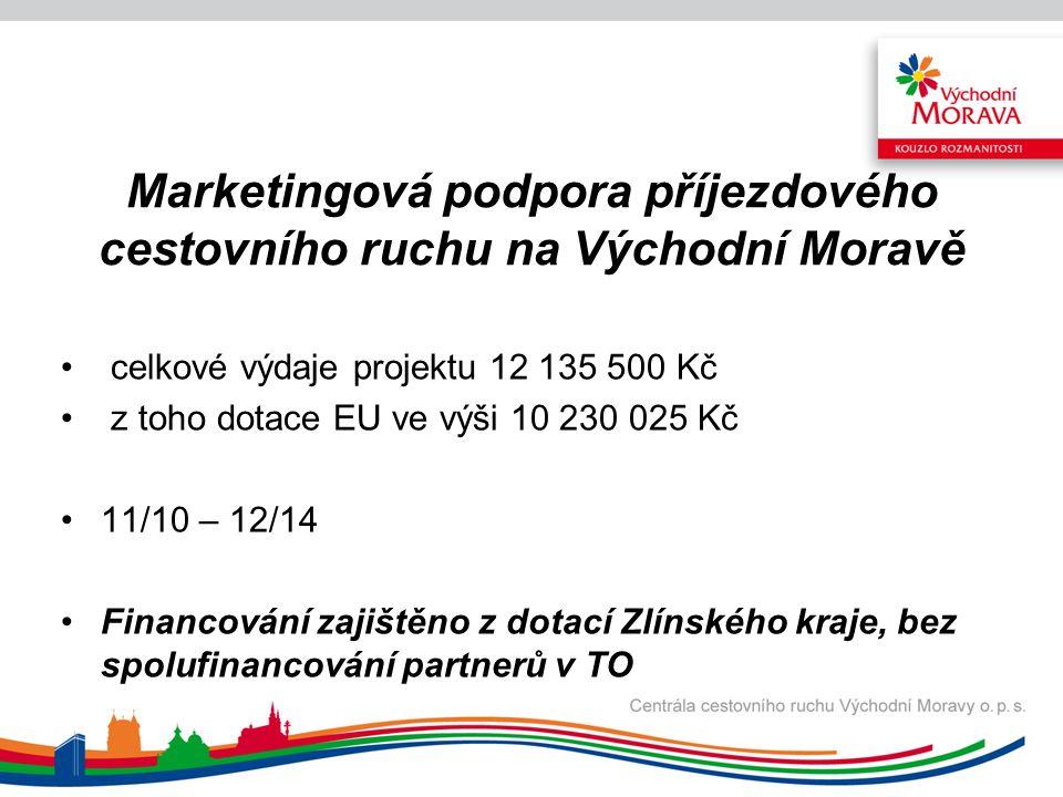 Významné kulturní akce a cíle východní části České republiky Realizace projektu: 7/2011 – 3/2013 Celkové způsobilé výdaje: 9.998.090 Kč, z toho 95 % dotace, 5 % vlastní zdroje.