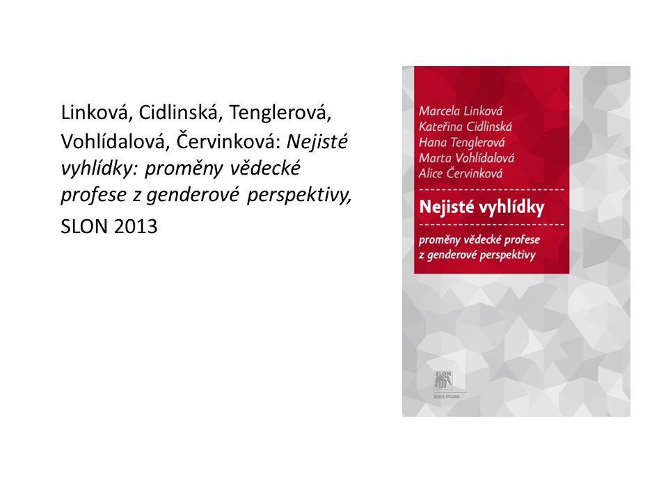 Linková, Cidlinská, Tenglerová, Vohlídalová, Červinková: Nejisté vyhlídky: proměny vědecké profese z genderové perspektivy, SLON 2013