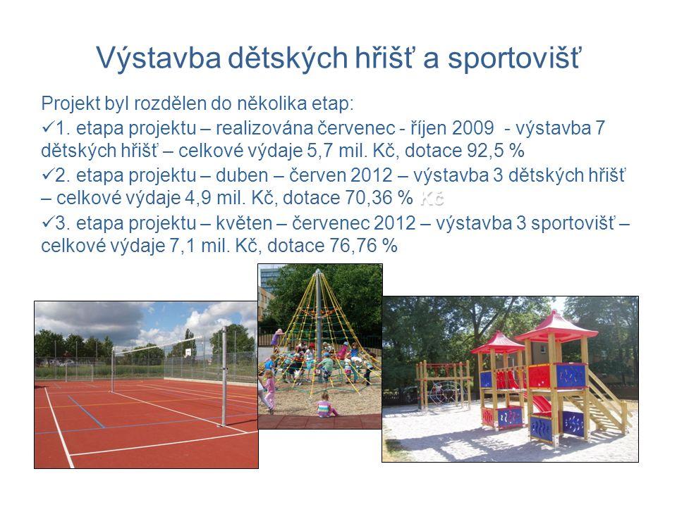 Výstavba dětských hřišť a sportovišť Projekt byl rozdělen do několika etap: 1.