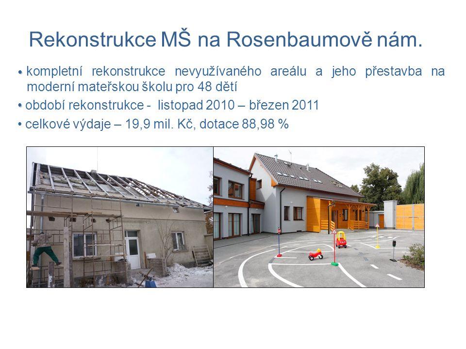 kompletní rekonstrukce nevyužívaného areálu a jeho přestavba na moderní mateřskou školu pro 48 dětí období rekonstrukce - listopad 2010 – březen 2011 celkové výdaje – 19,9 mil.
