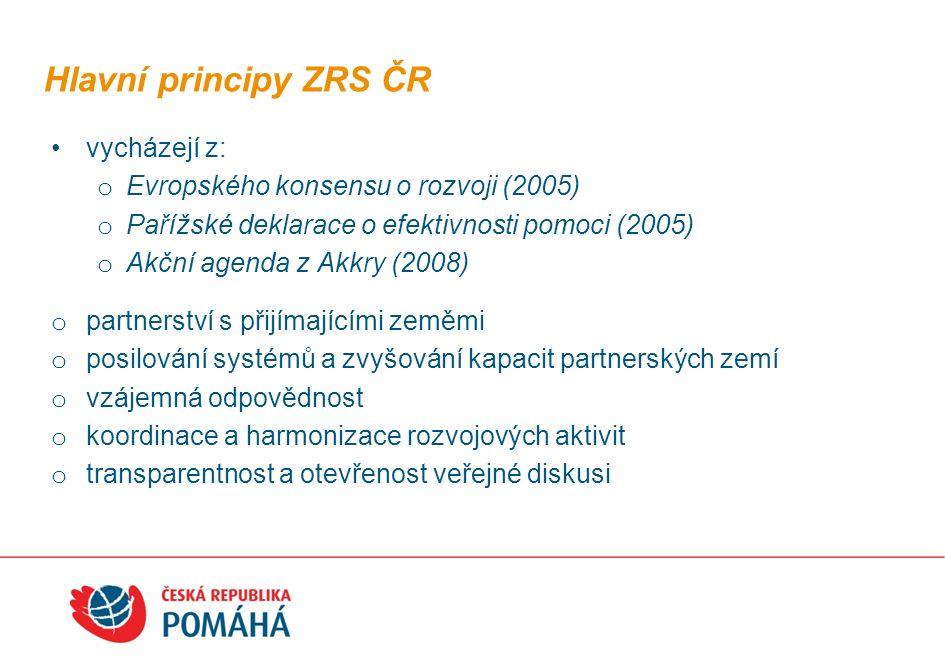 vycházejí z: o Evropského konsensu o rozvoji (2005) o Pařížské deklarace o efektivnosti pomoci (2005) o Akční agenda z Akkry (2008) o partnerství s př