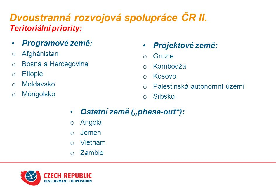 Dvoustranná rozvojová spolupráce ČR II.