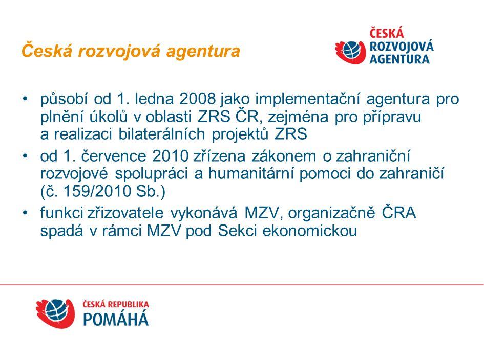 Česká rozvojová agentura působí od 1. ledna 2008 jako implementační agentura pro plnění úkolů v oblasti ZRS ČR, zejména pro přípravu a realizaci bilat