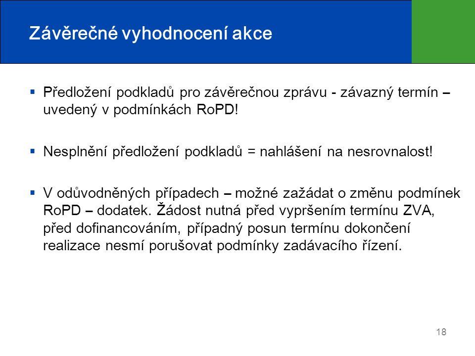 Závěrečné vyhodnocení akce  Předložení podkladů pro závěrečnou zprávu - závazný termín – uvedený v podmínkách RoPD!  Nesplnění předložení podkladů =
