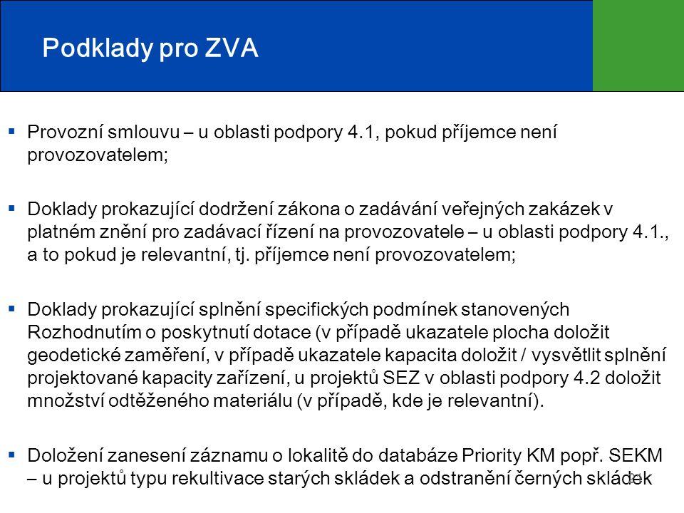 Podklady pro ZVA  Provozní smlouvu – u oblasti podpory 4.1, pokud příjemce není provozovatelem;  Doklady prokazující dodržení zákona o zadávání veře