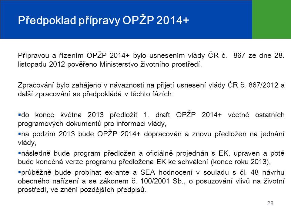Předpoklad přípravy OPŽP 2014+ Přípravou a řízením OPŽP 2014+ bylo usnesením vlády ČR č. 867 ze dne 28. listopadu 2012 pověřeno Ministerstvo životního