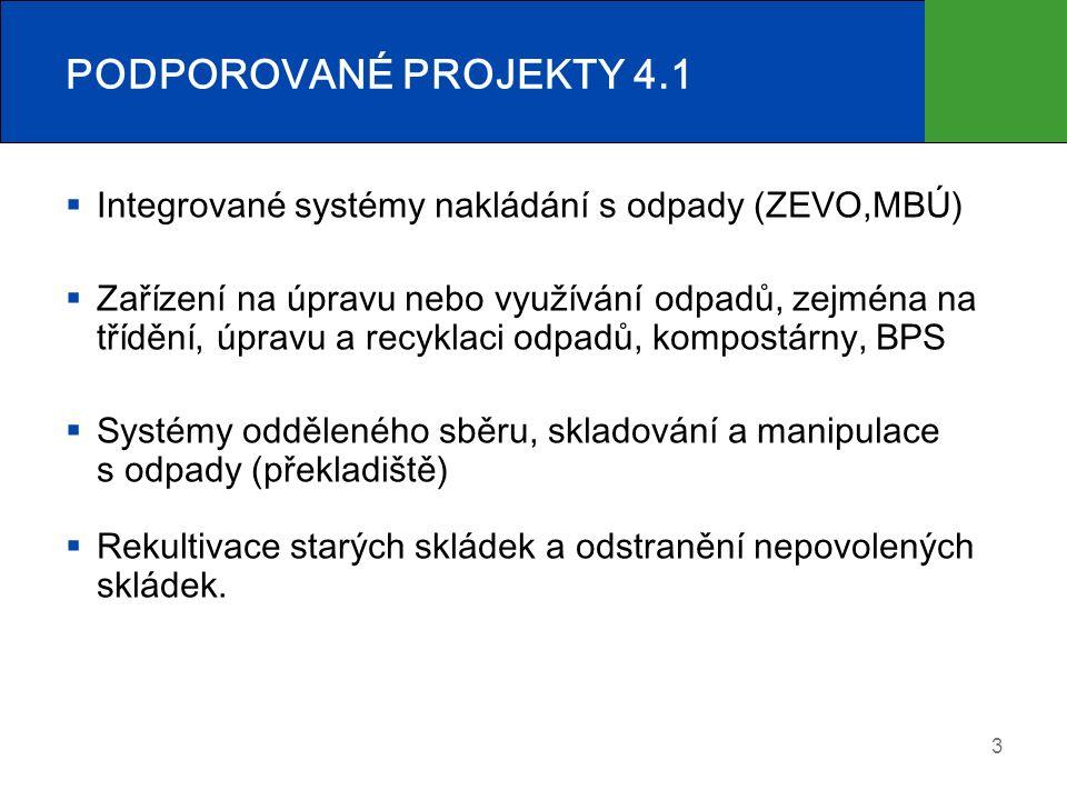 PODPOROVANÉ PROJEKTY 4.1  Integrované systémy nakládání s odpady (ZEVO,MBÚ)  Zařízení na úpravu nebo využívání odpadů, zejména na třídění, úpravu a